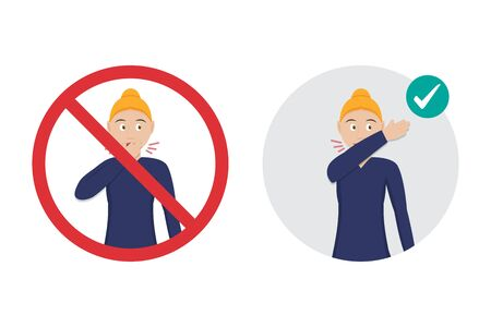 Prohibition sign with woman for wrong cough in hand and the correct method is elbow fold. Preventive measures against coronavirus