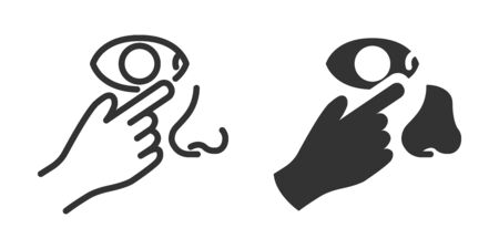 Do not touch eyes, nose icon in two versions in simple design. Vector illustration