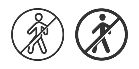 No walk icon in two versions in simple design. Vector illustration Ilustrace