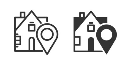 Stay home icon in two versions in simple design. Vector illustration