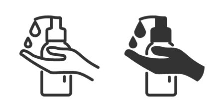 Hand sanitizer icon in two versions in simple design. Vector illustration Reklamní fotografie - 144125127
