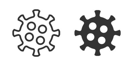 Virus icon in two versions in simple design. Vector illustration