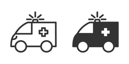 Ambulance icon in two versions in simple design. Vector illustration