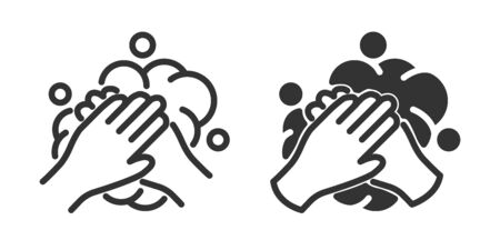 Wash hands icon in two versions in simple design. Vector illustration Reklamní fotografie - 144125129