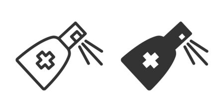 Antiseptic icon in two versions in simple design. Vector illustration