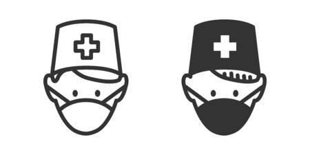 Doctor in mask icon in two versions in simple design. Vector illustration Ilustrace