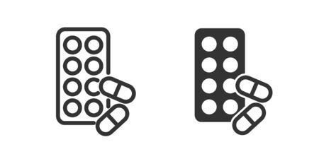 Pills icon in two versions in simple design. Vector illustration Ilustrace