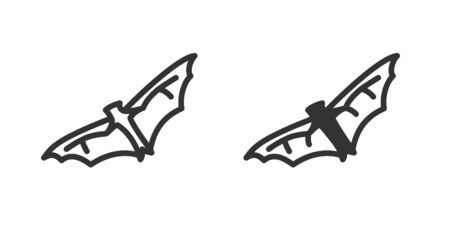Virus on bat icon in two versions in simple design. Vector illustration