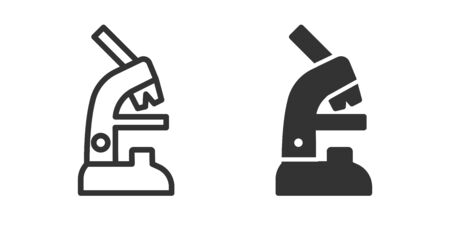 Microscope icon in two versions in simple design. Vector illustration