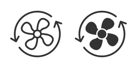 Ventilation icon in two versions in simple design. Vector illustration
