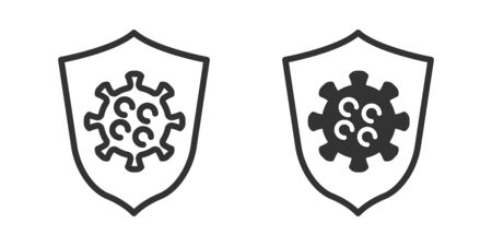 Virus protection icon in two versions in simple design. Vector illustration Ilustrace