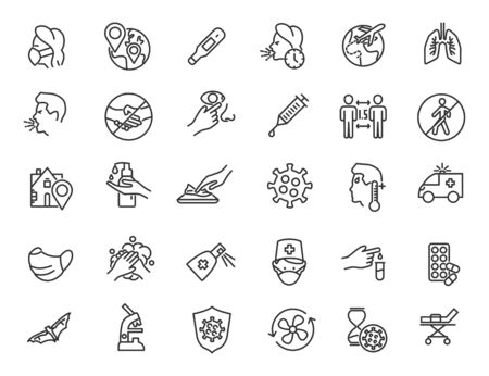 Set of linear coroavirus icons. COVID-19 icons in simple design. Vector illustration Ilustrace