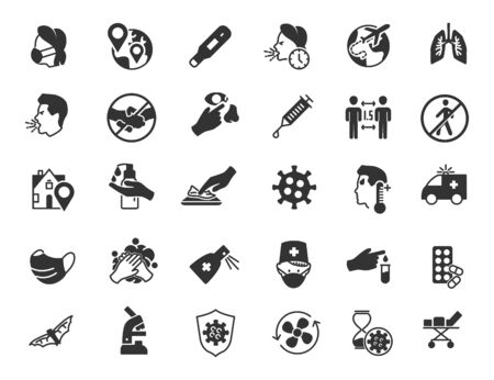 Set of coroavirus icons. COVID-19 icons in simple design. Vector illustration