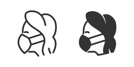 Woman in mask icon in two versions in simple design. Vector illustration
