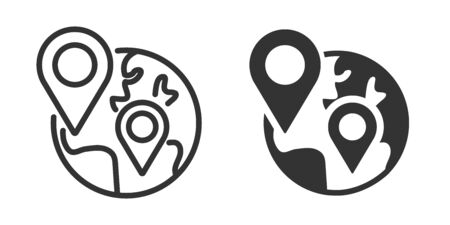 World with map pointer icon in two versions in simple design. Vector illustration Reklamní fotografie - 144125138