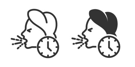 Woman cough icon in two versions in simple design. Vector illustration