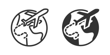 Wold travel icon in two versions in simple design. Vector illustration Ilustrace