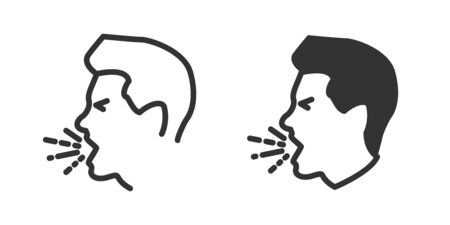 Cough icon in two versions in simple design. Vector illustration Reklamní fotografie - 144125156