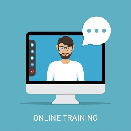 Online training with video teacher in computer monitor in a flat design