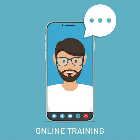 Online training with video teacher in smartphone in a flat design