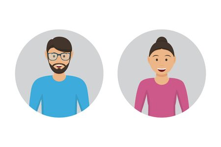 Male and female user icons in a flat design Ilustrace