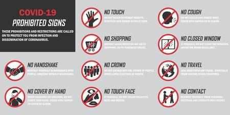 Coronavirus infographic background. Set of prohibited signs during quarantine