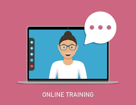 Online training with video teacher in laptop in a flat design Ilustrace