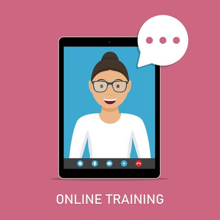 Online training with video teacher in tablet in a flat design Ilustrace