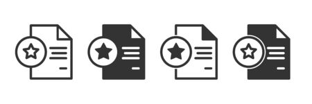 Document with star icons in four different versions in a flat design