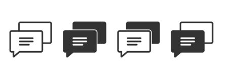 Review comment icons in four different versions in a flat design