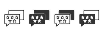 Feedback and rating icons in four different versions in a flat design