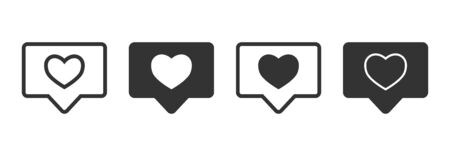 Like notification icons in four different versions in a flat design Ilustrace