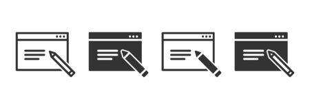 Review icons in four different versions in a flat design