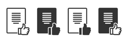 Document review icons in four different versions in a flat design