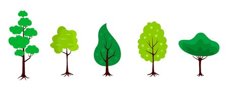 Set of trees icons in a flat design on a white background