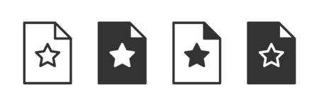 Star document icons in four different versions in a flat design