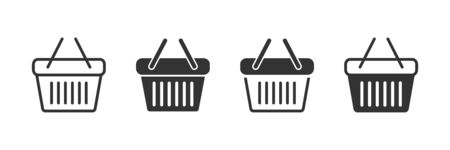 Shopping basket icons in four different versions in a flat design Ilustrace