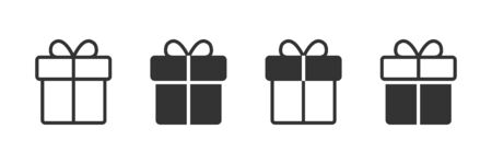 Gift icons in four different versions in a flat design