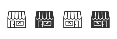 Store icons in four different versions in a flat design