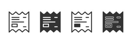 Receipt icons in four different versions in a flat design