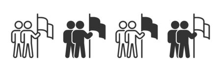 Career target icons in four different versions in a flat design