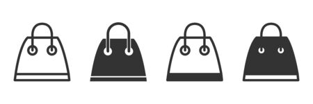 Shopping bag icons in four different versions in a flat design