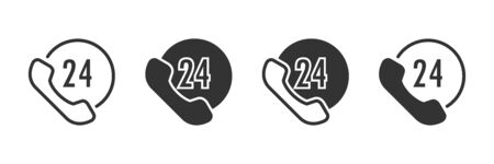 24h support icons in four different versions in a flat design