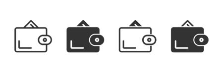 Wallet icons in four different versions in a flat design