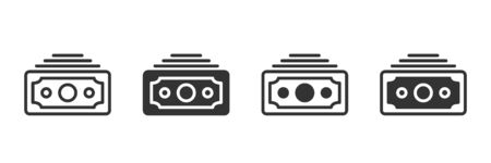 Money icons in four different versions in a flat design
