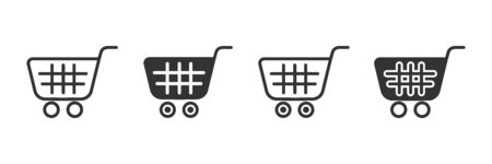Shopping cart icons in four different versions in a flat design