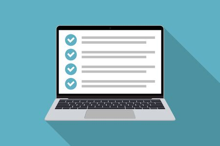 Laptop with checklist in a flat design with long shadow. List with checkboxes Ilustrace