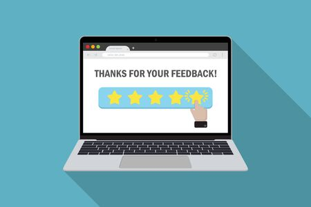 Laptop with customer choice product evaluation in star rating in a flat design