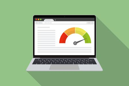 Laptop with speed test internet power in a flat design