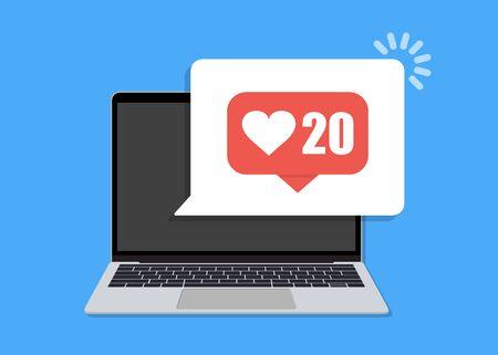 Laptop with like notification speech bubble in a flat design